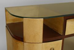 French Art Deco Mahogany and Parchment Veneered D Shaped Dressing Table Desk - 428922