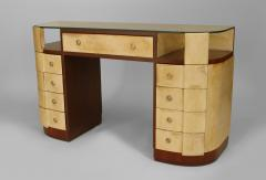 French Art Deco Mahogany and Parchment Veneered D Shaped Dressing Table Desk - 428923