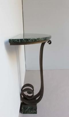 French Art Deco Marble Console with a Hammered wrought Iron Pedestal - 2004627