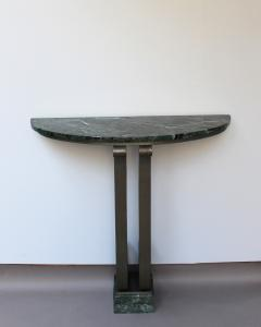 French Art Deco Marble Console with a Hammered wrought Iron Pedestal - 2004657