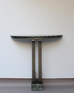 French Art Deco Marble Console with a Hammered wrought Iron Pedestal - 2004674