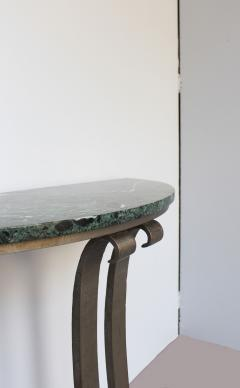French Art Deco Marble Console with a Hammered wrought Iron Pedestal - 2004688
