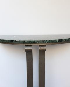French Art Deco Marble Console with a Hammered wrought Iron Pedestal - 2004728