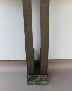 French Art Deco Marble Console with a Hammered wrought Iron Pedestal - 2004746