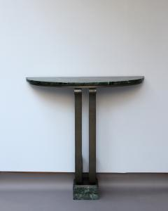 French Art Deco Marble Console with a Hammered wrought Iron Pedestal - 2004751