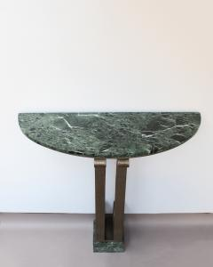 French Art Deco Marble Console with a Hammered wrought Iron Pedestal - 2004753