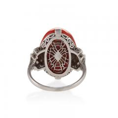 French Art Deco Red Coral Diamond and Platinum Ring - 252723