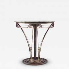 French Art Deco Round Wrought Iron End Table - 432276