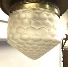 French Art Deco Satin Dimple Glass Brass Pendant Flush Mount Fixture 1925 - 1696107