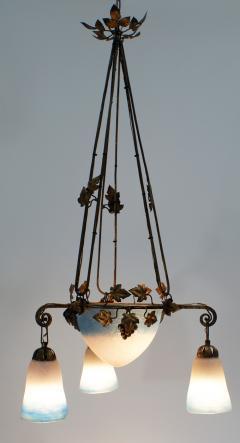 French Art Nouveau Chandelier Signed Rethondes Region Hauts de France  - 1943531