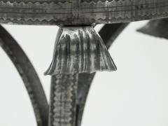 French Art deco wrought steel black oak gueridon 1940s - 1556649