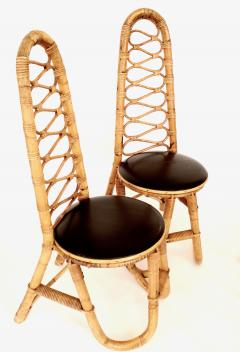 French Bamboo and Rattan French Riviera Four Sculptural Dining Chairs circa 1970 - 1795012