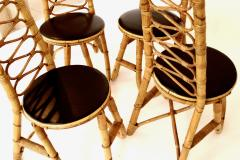 French Bamboo and Rattan French Riviera Four Sculptural Dining Chairs circa 1970 - 1795015