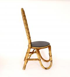 French Bamboo and Rattan French Riviera Four Sculptural Dining Chairs circa 1970 - 1795017