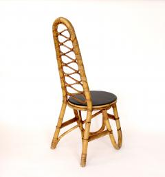 French Bamboo and Rattan French Riviera Four Sculptural Dining Chairs circa 1970 - 1795018