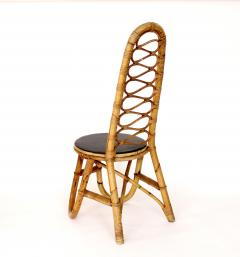 French Bamboo and Rattan French Riviera Four Sculptural Dining Chairs circa 1970 - 1795020
