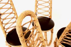 French Bamboo and Rattan French Riviera Four Sculptural Dining Chairs circa 1970 - 1795021
