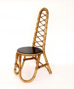 French Bamboo and Rattan French Riviera Four Sculptural Dining Chairs circa 1970 - 1795025