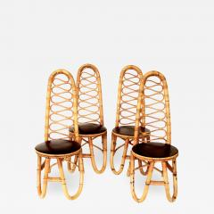 French Bamboo and Rattan French Riviera Four Sculptural Dining Chairs circa 1970 - 1797820