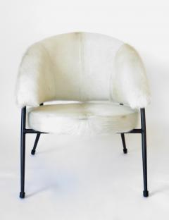 French Black Iron Framed with White Hair on Hide Upholstered Lounge Chair - 1240476