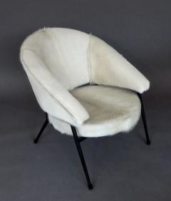 French Black Iron Framed with White Hair on Hide Upholstered Lounge Chair - 1240481