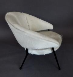 French Black Iron Framed with White Hair on Hide Upholstered Lounge Chair - 1240483