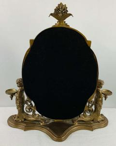 French Bonze Vanity Mirror with Cherubs candle holders - 1712119