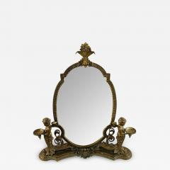 French Bonze Vanity Mirror with Cherubs candle holders - 1717739