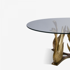 French Brass Seated Swan Base Cocktail Table - 341219