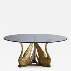French Brass Seated Swan Base Cocktail Table - 341517