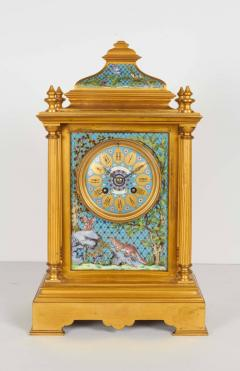 French Bronze and Champleve Cloisonne Enamel Five Piece Clock Garniture Set - 1162374