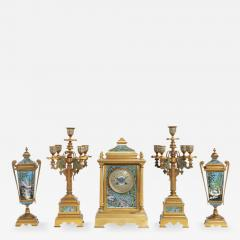 French Bronze and Champleve Cloisonne Enamel Five Piece Clock Garniture Set - 1163204