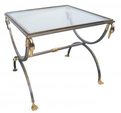 French Brushed Steel and Brass Side Table with Glass Top and Swan Supports - 103822