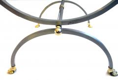 French Brushed Steel and Brass Side Table with Glass Top and Swan Supports - 103824