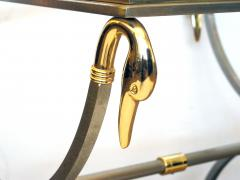 French Brushed Steel and Brass Side Table with Glass Top and Swan Supports - 103826