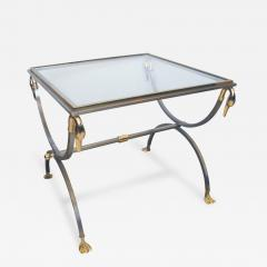 French Brushed Steel and Brass Side Table with Glass Top and Swan Supports - 104772