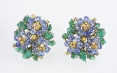French Carved Emerald Yellow Blue Sapphire Earrings in 18K Gold - 85569