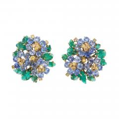 French Carved Emerald Yellow Blue Sapphire Earrings in 18K Gold - 86178