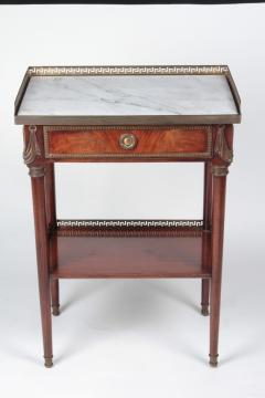 French Coffee table in mahogany and white Carrara marble and bronze 19th century - 1506568