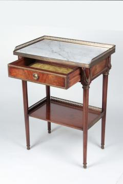 French Coffee table in mahogany and white Carrara marble and bronze 19th century - 1506569