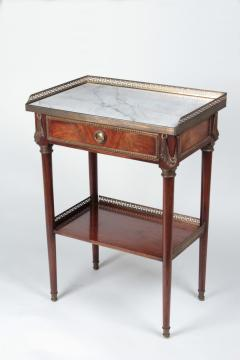 French Coffee table in mahogany and white Carrara marble and bronze 19th century - 1506570