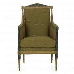French Directoire Painted Antique Bergere Arm Chair 19th Century - 1015156