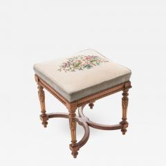 French Early 20th Century Louis XVI Stool with Needlepoint Cushion - 583804
