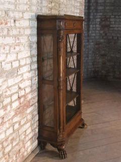 French Empire 19th Century Walnut Bookcase Cabinet - 627098