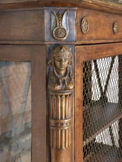 French Empire 19th Century Walnut Bookcase Cabinet - 627099
