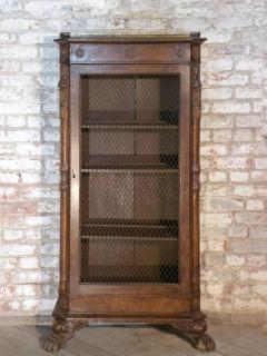 French Empire 19th Century Walnut Bookcase Cabinet - 627100