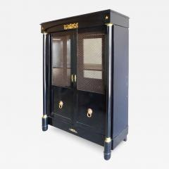 French Empire Lacquered Bibliotheque with Bronze Trellis Doors and Ormolu - 1122652