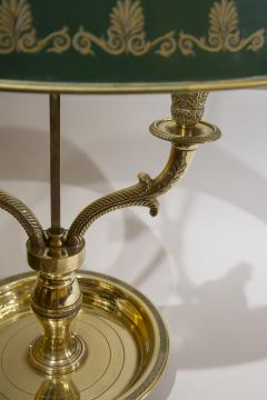 French Empire Style Bouillotte Table Lamp Brass with Green Tole Shade - 1214905