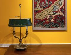 French Empire Style Bouillotte Table Lamp Brass with Green Tole Shade - 1214909