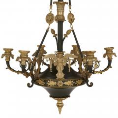 French Empire style ormolu and bronze chandelier - 1907351